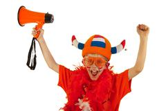 Dutch boy as soccer fan Stock Photos