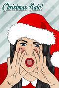 Christmas sale design with sexy santa girl Stock Illustration