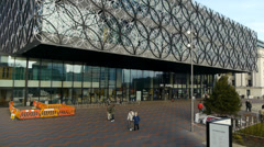 Library of Birmingham - crane shot. Stock Footage