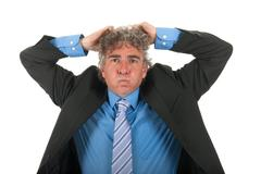 adult business man with stress - stock photo