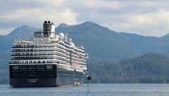 Cruise Ship Anchored in Sitka, Alaska - stock footage