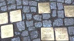 Stumbling blocks berlin Stock Footage