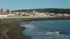 Beach and town skyline of praia da vitoria, terceira island, azores, portugal Stock Footage