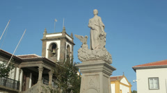 Statue and city hall, praia da vitoria, terceira island, azores, portugal Stock Footage