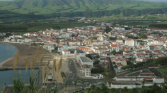 Overall view of town of praia da vitoria, terceira island, azores, portugal Stock Footage
