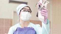 Nurse Holding Blood Bag Stock Footage