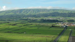 Overall view of fields near praia do vitoria, terceira island, azores Stock Footage
