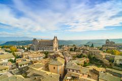orvieto medieval town and duomo cathedral church aerial view. italy - stock photo