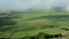 Overall view of hills and fields, terceira island, azores, Portugal Stock Footage