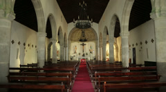 Interior of san sebastian church, terceira island, azores, portugal Stock Footage