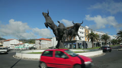 Three bulls statue, entrance to angra do heroismo, terceira island, azores Stock Footage