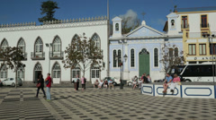 Tourists in main square, angra do heroismo, terceira island, azores, portugal Stock Footage