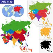 Colorful Asia map Stock Illustration