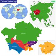 Central Asia map Stock Illustration