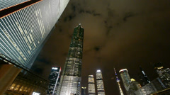 Panoramic of modern urban skyscraper at night,shanghai business hub. Stock Footage