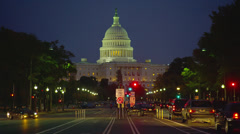 US CAPITOL BUILDING WITH TRAFFIC – NIGHT - stock footage