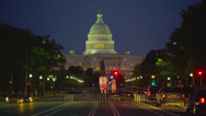 US CAPITOL BUILDING WITH TRAFFIC – NIGHT Stock Footage