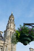 Tower of st vaast church in arras Stock Photos
