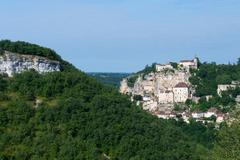 pilgrimage village rocamadour - stock photo