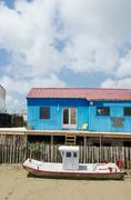 colorful wooden cabins - stock photo