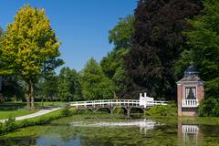 little arbor and bridge - stock photo