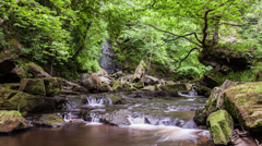 Time lapse of Mallyan spout waterfall in Grosmont, North Yorkshire Stock Footage