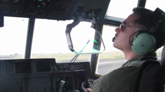 KC-130 Hercules pilots flying operations Stock Footage