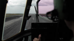 KC-130 Hercules taking off cockpit view Stock Footage