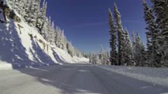 Hurricane Ridge, Driving, POV, Mountains, Road, Snow Stock Footage