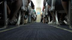 Airplane Aisle (low POV) Stock Footage