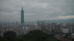 The Taipei 101 tower and skyline at dusk Stock Footage