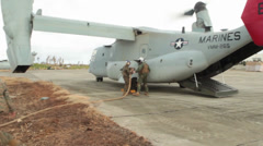 V-22 Ospreys, Marine Conducting Forward Arming and Refueling Point Operations Stock Footage