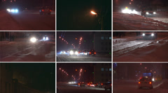 Snowstorm. Winter traffic montage HD - stock footage