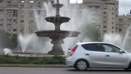 Stock Video Footage of Traffic in Bucharest, Romania, boulevard, fountains, communist buildings