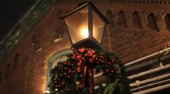 Gas Street Lamp Christmas Stock Footage
