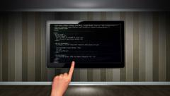 HTML Concept in Monitor, Open with Click Hand Stock Footage