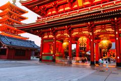 Sensoji-ji red japanese temple in asakusa, tokyo, japan Stock Photos