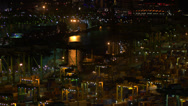 Stock Video Footage of Singapore container port at night HD