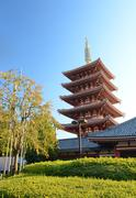 Five-storey pagoda at sensoji temple in tokyo, japan. Stock Photos