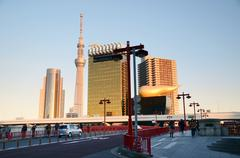 Stock Photo of tokyo sky tree along the sumida river, asakusa, tokyo, japan