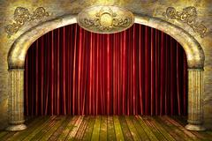 Red fabric curtain on stage Stock Illustration