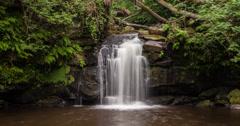 4K time lapse of Thomason Foss waterfall, Goathland, North Yorkshire, UK Stock Footage