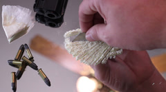 Gun bullets cocaine Stock Footage