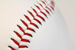 Looking down the threads of a baseball Stock Photos