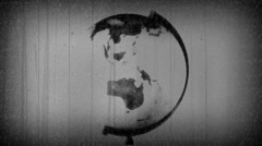 Retro Globe TV Static Black White Stock Footage
