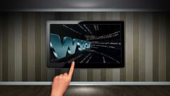 WWW Text Concept in Monitor, Open with Click Hand Stock Footage