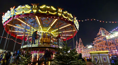 Moscow, Red Square at Christmas/New Year time. Carousel on Chrismas fair. Stock Footage