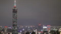 The stunning Taipei 101 at night Stock Footage