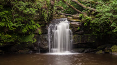 Time lapse of Thomason Foss waterfall, Goathland, North Yorkshire, UK Stock Footage