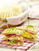 sandwich with egg tomato cucumber bacon and a sauce - stock photo